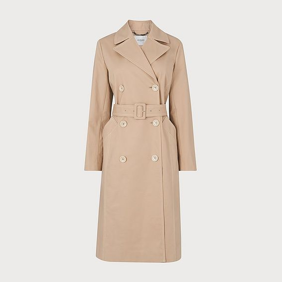 Kaylee Beige Cotton Trench Coat