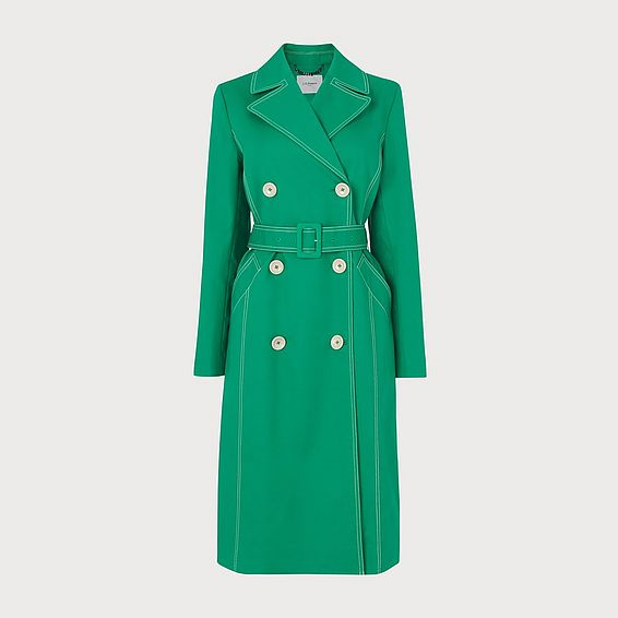 Kaylee Green Cotton Trench Coat
