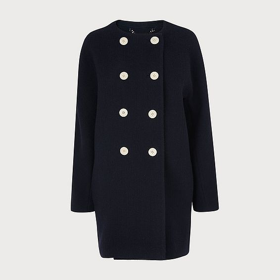 Tammie Navy Wool-Cotton Coat