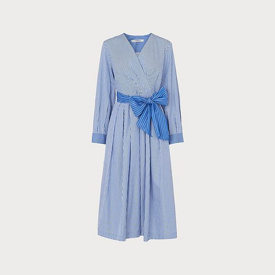 Alela Blue Striped Cotton Dress