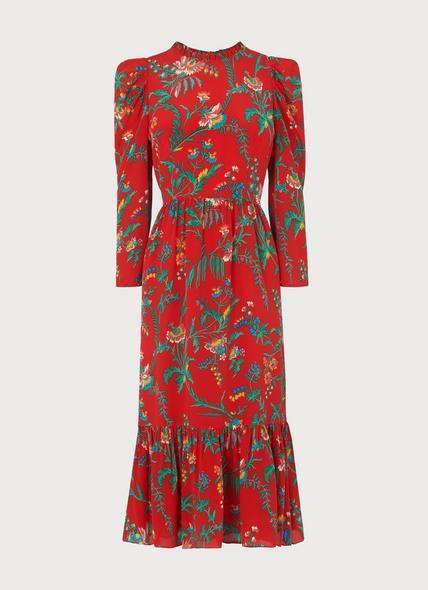 Alissa Red Wildflower Print Silk Midi Dress