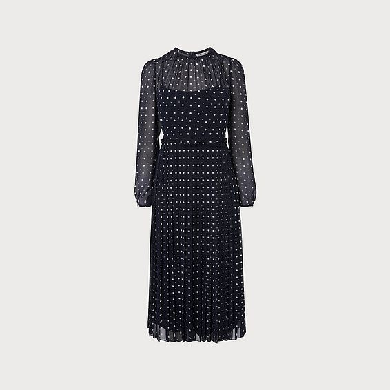 Avery Navy Polka Dot Midi Dress