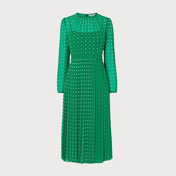 Avery Green Polka Dot Midi Dress