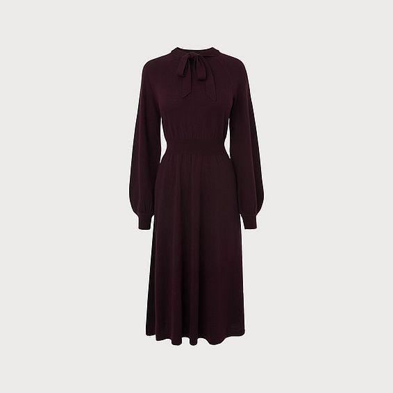 Carroll Wine Merino Wool Dress