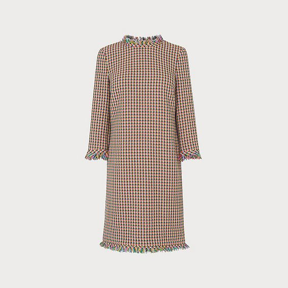 Conilia Raw Edge Tweed Dress