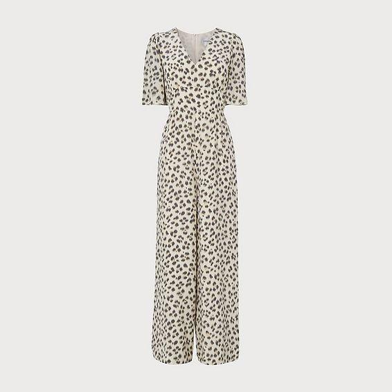Diana Leopard Print Silk Jumpsuit