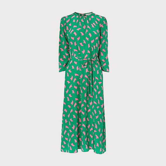 Dorothy Green Sail Print Silk Midi Dress