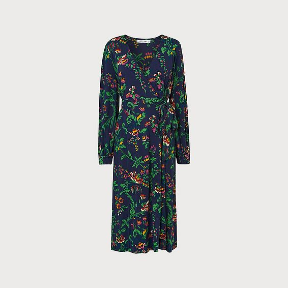 Ella Navy Wildflower Print Wrap Dress