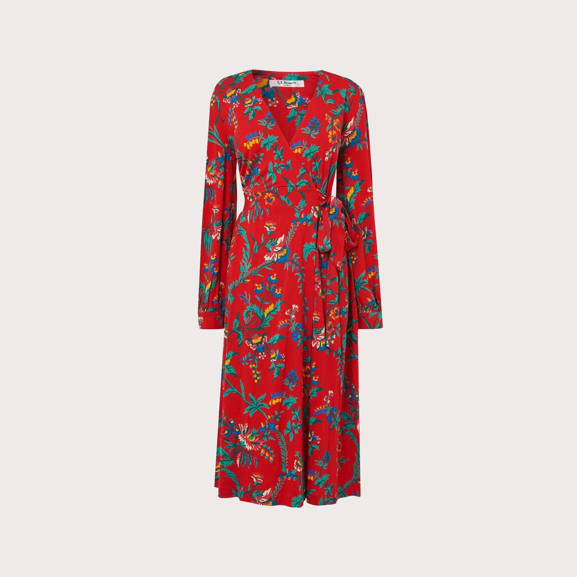 0f261bdd5 Ella Red Wildflower Print Wrap Dress   Clothing   L.K.Bennett