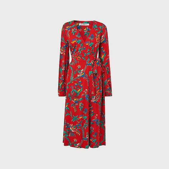 Ella Red Wildflower Print Wrap Dress