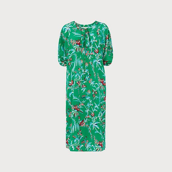 Estella Green Wildflower Print Silk Midi Dress