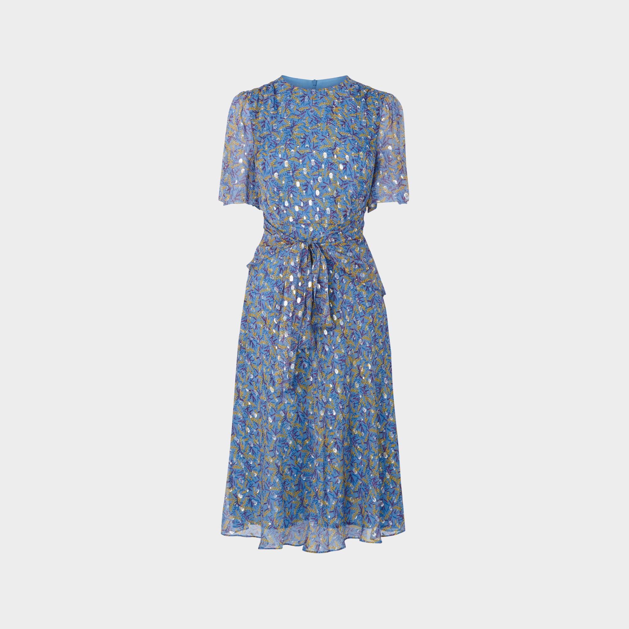 3a7a9f5fe5 Eve Blue Lurex Spot Silk Midi Dress