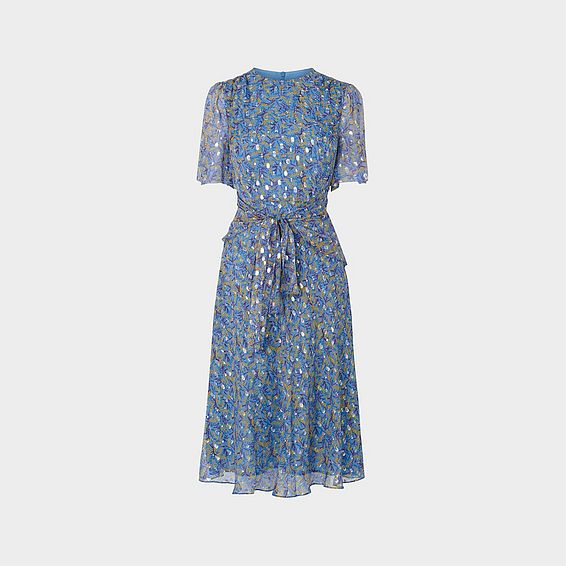 Eve Blue Lurex Spot Silk Midi Dress