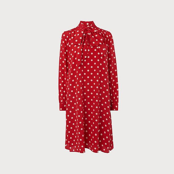 Evia Red Polka Dot Silk Dress