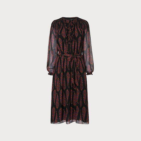 Getty Black Multi Silk Dress