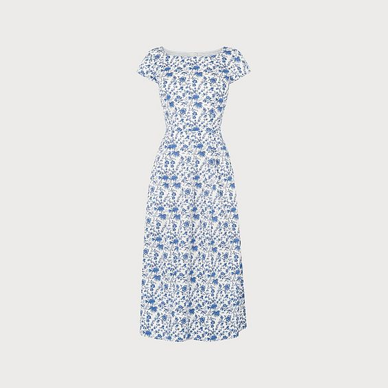 Glenda Wallpaper Print Cotton Midi Dress