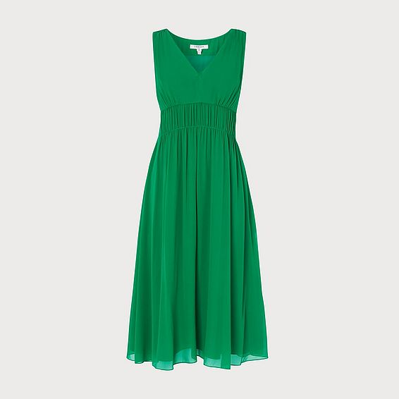 Greca Green Silk Midi Dress