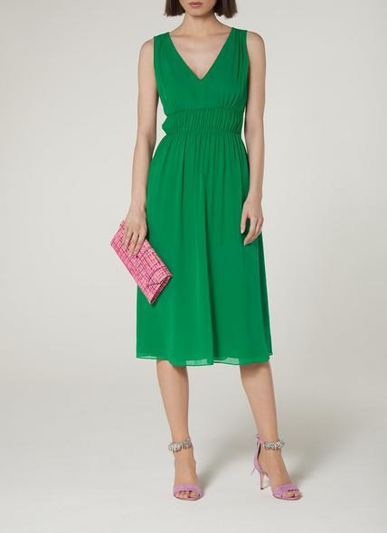 Greca Green Silk Midi Dress