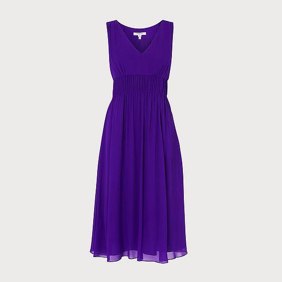 Greca Purple Silk Midi Dress