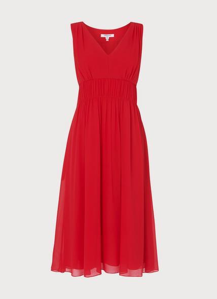 Greca Red Silk Midi Dress