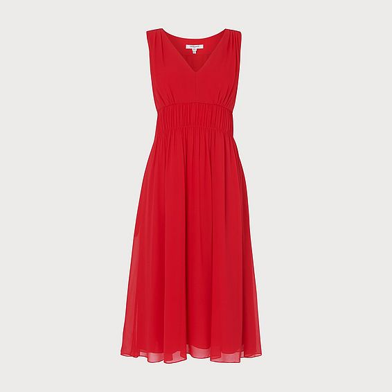 Greca Red Silk Midi Dress