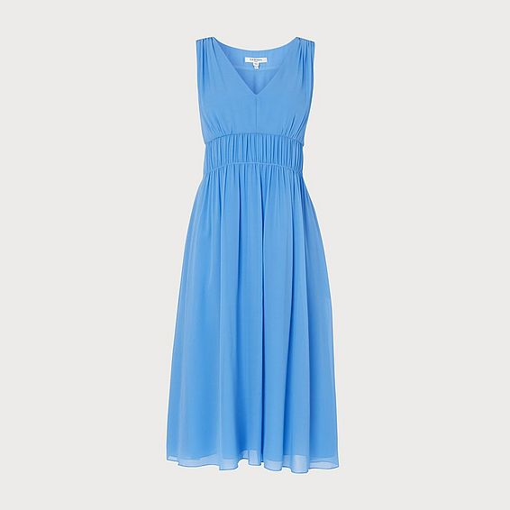 Greca Blue Silk Midi Dress