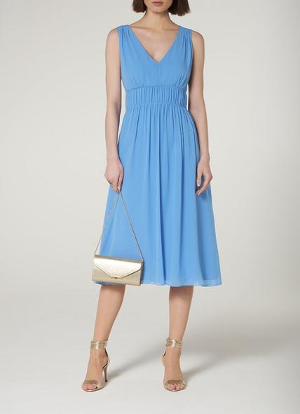 Greca Blue Silk Midi Dress