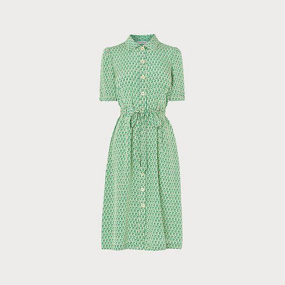 a4116f549d17 Irenie Ric Rac Print Green Silk Shirt Dress