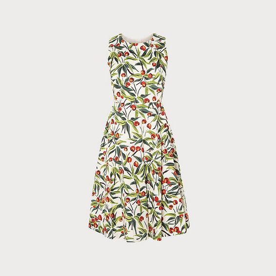 ae5695026a5 Jesse Cherry Print Ivory Cotton Midi Dress