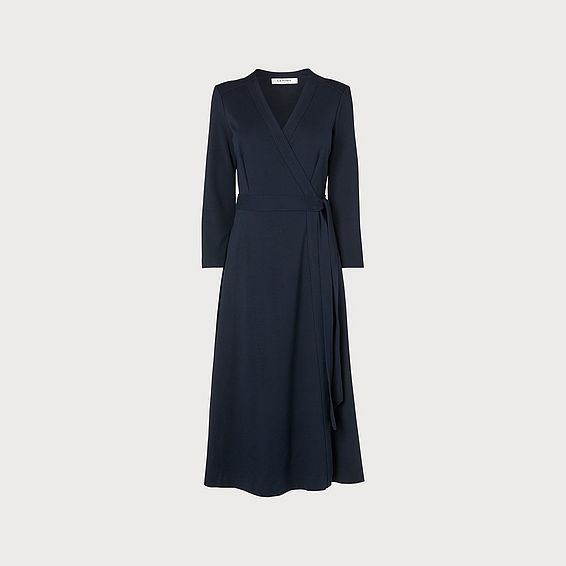 Juno Navy Wrap Dress