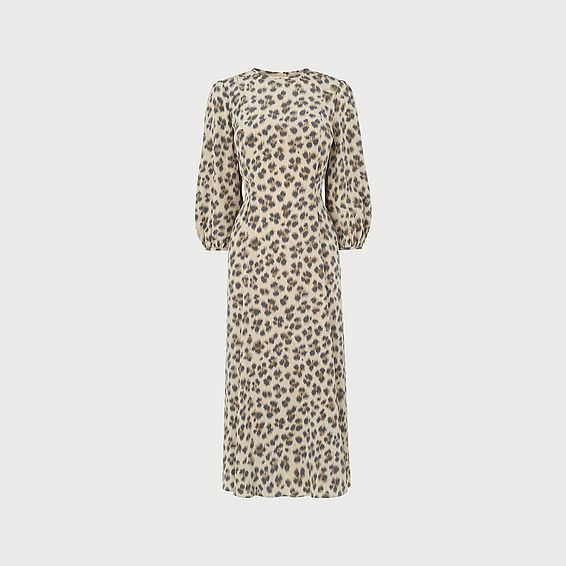 Kaia Leopard Print Silk Midi Dress