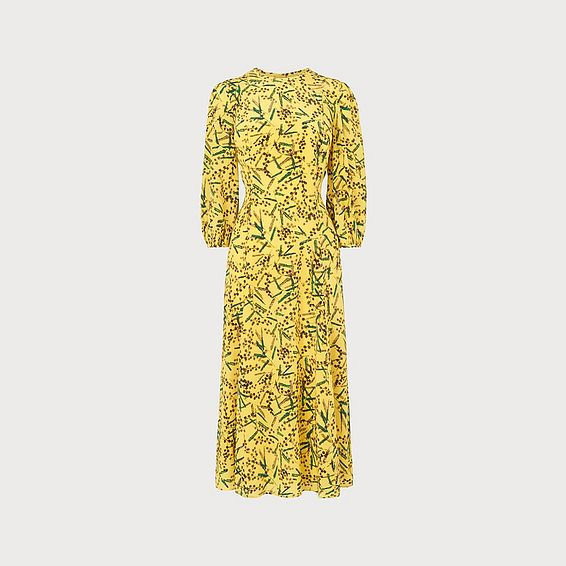 Kaia Mimosa Print Silk Midi Dress