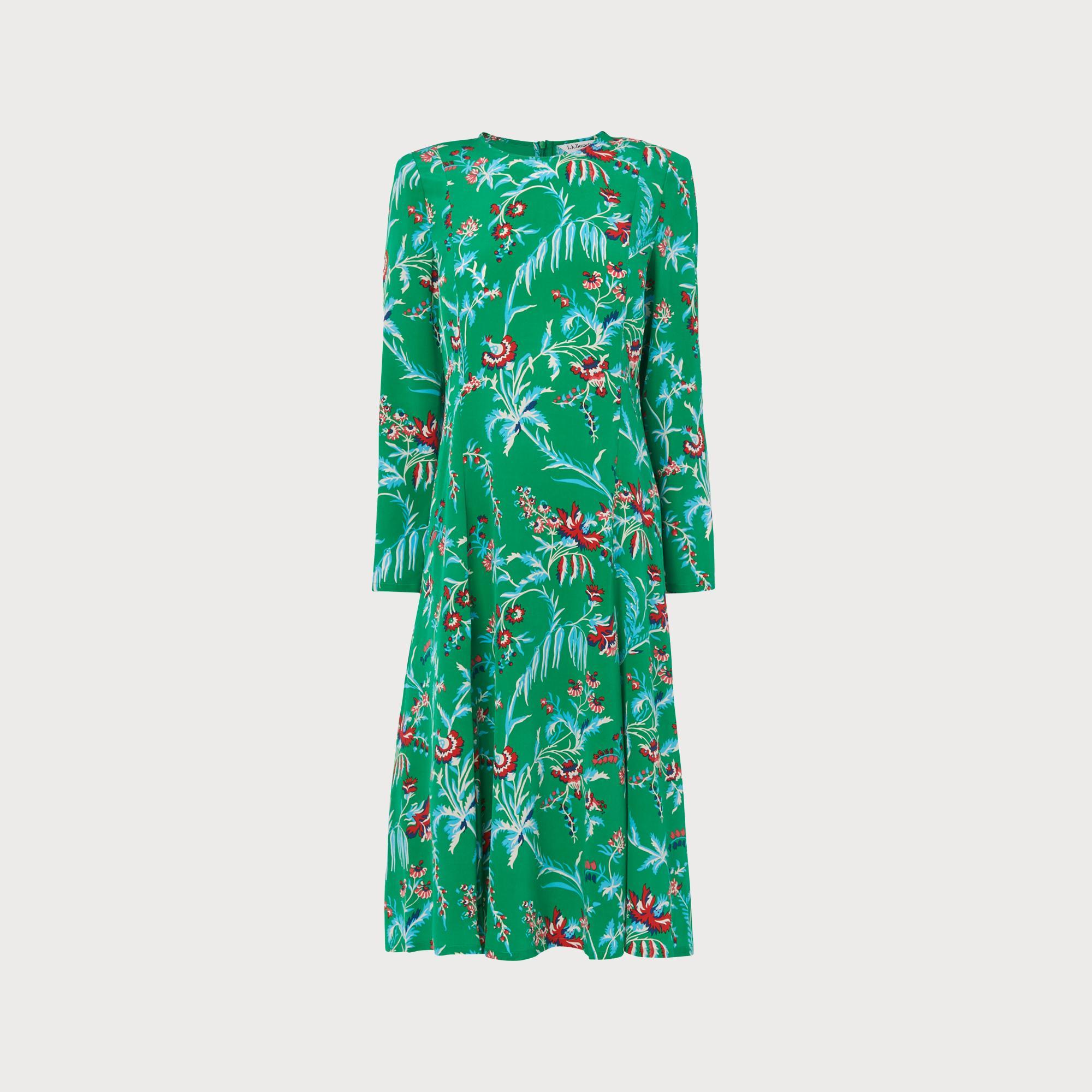 b5f16c5e656c Leanie Wildflower Print Green Silk Midi Dress | Clothing | L.K.Bennett