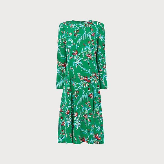 Leanie Wildflower Print Green Silk Midi Dress