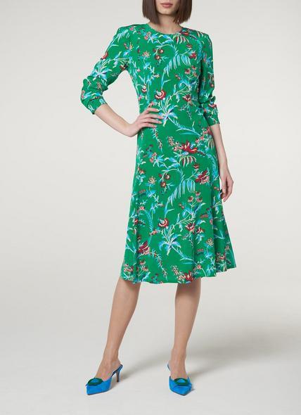 Leanie Wildflower Print Green Silk Midi Dress