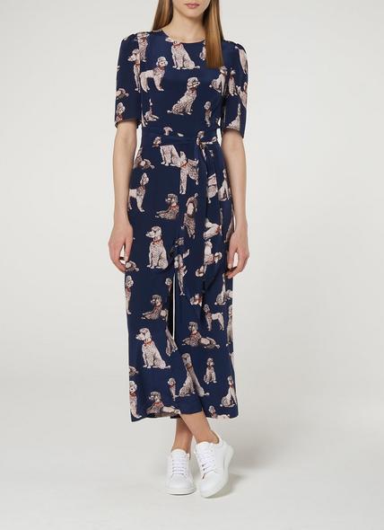 Loren Navy Silk Jumpsuit