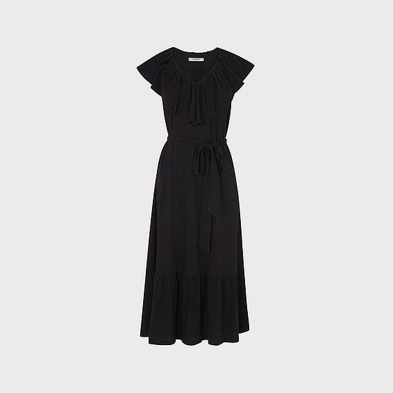 Margret Black Cotton Linen Dress
