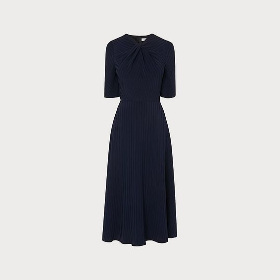 c535a81fde Mariann Navy Twist Neck Midi Dress