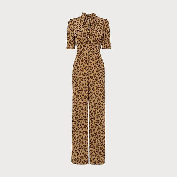 Marmont Leopard Print Silk Jumpsuit