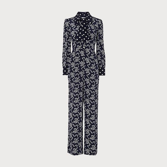 Mitford Navy Silk Jumpsuit