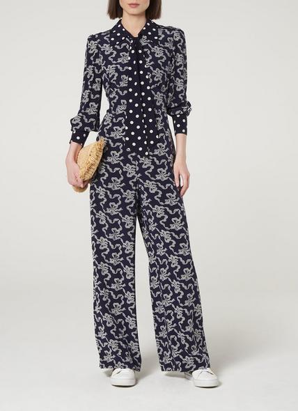 Mitford Navy Silk Jumpsuit