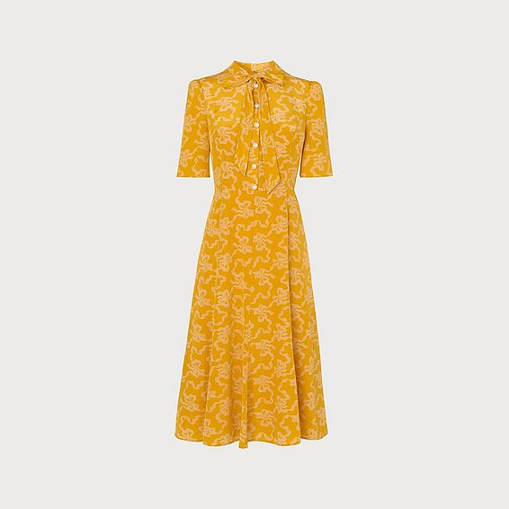 Montague Yellow Bow Print Silk Tea Dress