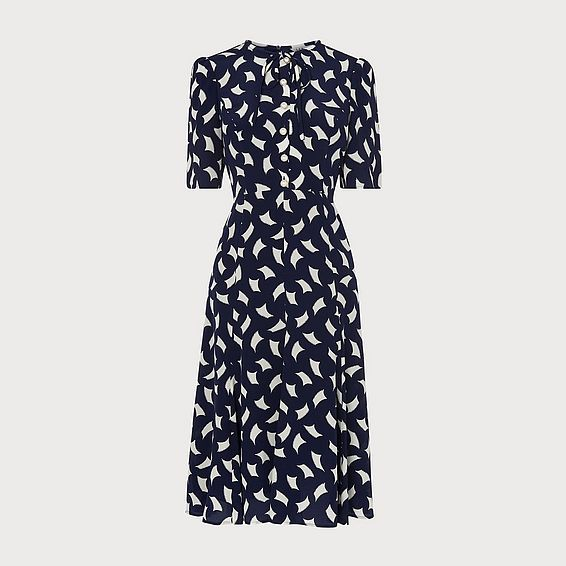 Montana Navy Sail Print Silk Tea Dress