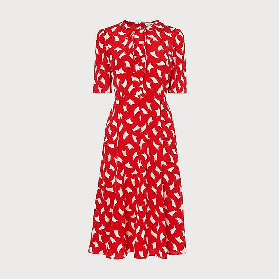 ed0bf6b6584 Montana Red Sail Print Silk Tea Dress