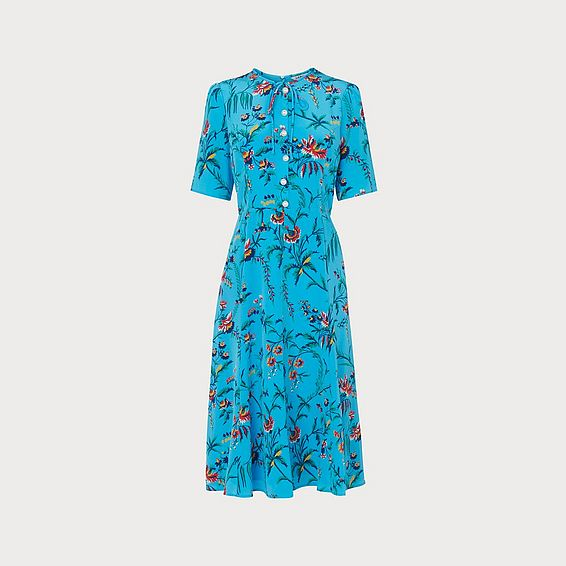 Montana Wildflower Print Blue Silk Tea Dress