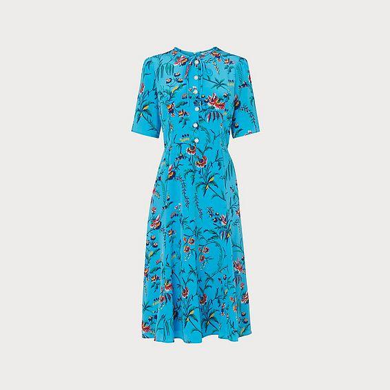 Montana Wildflower Print Blue Silk Tea Dress