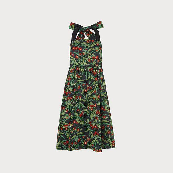 6868cbc9d07 Novak Cherry Print Black Cotton Sun Dress