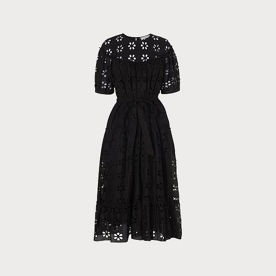 d1382f9e80 Rego Broderie Anglaise Black Cotton Midi Dress