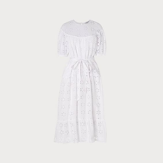 Rego Broderie Anglaise White Cotton Midi Dress