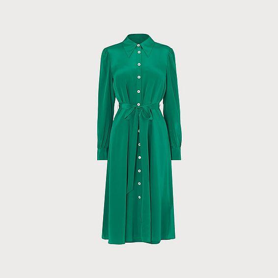 Runa Green Silk Shirt Dress